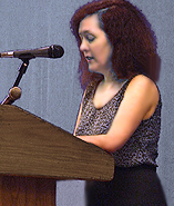 Ann Herendeen author of Phyllida and the Brotherhood of Philander giving a reading a New York's LGBT Community Center May 2007 photo by  Efrain John Gonzalez