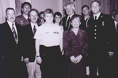 Cliff Cliff Arnesen and other LGBT Veterans with Senator Ted Kennedy while Testifing Before Congress 1993