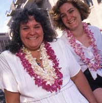 1994 Pride Parade grand marshal Lani Ka'ahamanu with her daughter. Photo: Rick Gerharter from The Bay Area Reporter
