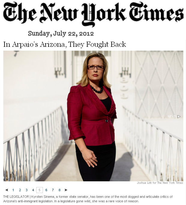Kyrsten Sinema: In Arpaio's Arizona, They Fought Back credit NY Times 22 July 2012