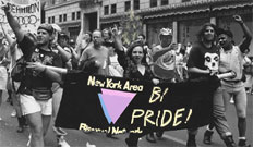 A contingent from the New York Area Bisexual Network (NYABN) marches in the NYC LGBT Pride Parade.