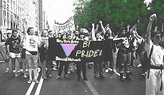 New York Area Bisexual Network (NYABN) the NYC LGBT Pride Parade giving a Bi Pride Salute