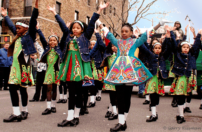 St. Pat's for All - the Keltic Dreamers step dance squad from PS 59 in Bronx at Sunnyside's St. Pat's for All Parade  in 2007
