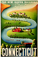 welcome to Connecticut featuring a copy of a 1950's New Haven Railroad Travel Poster by the well know mid-century artist Ben Nason