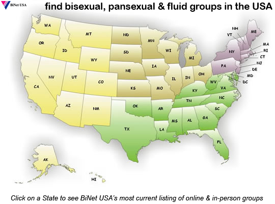 find Bi and Bi Inclusive Groups in the USA - click on a State to see BRC's complete list of Bi and Bi-inclusive resourses